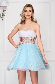 Rochie Sherri Hill albastra de lux scurta in clos tip corset