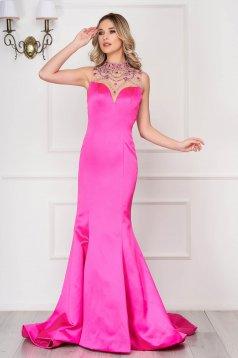 Rochie Sherri Hill roz de lux tip sirena din material satinat cu bust buretat cu spatele gol