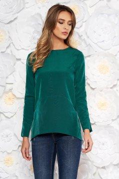 Bluza dama Artista verde-inchis eleganta cu croi larg din material fin la atingere cu spatele gol