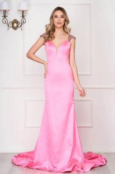 Rochie Sherri Hill roz de lux lunga tip sirena cu pietre strass cu bretele si decolteu