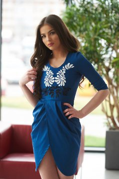 Rochie StarShinerS Brodata Mystic Line Butterfly Blue