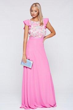 Rochie StarShinerS rosa de ocazie lunga in clos din voal cu flori in relief