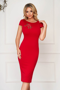 StarShinerS red dress daily midi pencil with cut back