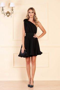 Ana Radu occasional black one shoulder cloche dress