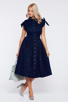 vânzare magazin de vânzare preț rezonabil design unic Rochie Daniella Cristea albastru-inchis eleganta in clos cu maneca ...