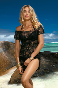 Rochie neagra de plaja din dantela cu croi larg cu snur in talie