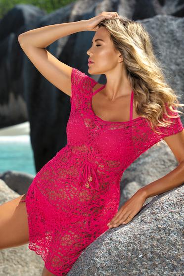 Rochie roz de plaja din dantela cu croi larg cu snur in talie