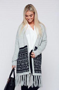 Cardigan Top Secret gri-deschis casual tricotat cu franjuri