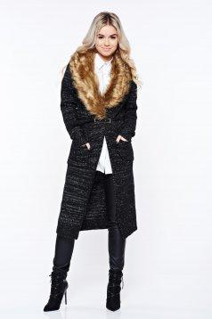 Cardigan Top Secret negru casual din material tricotat cu insertii cu blana ecologica