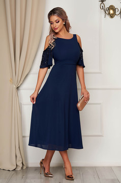 StarShinerS darkblue dress occasional midi cloche voile fabric with sequin embellished details