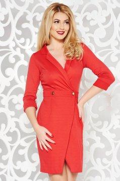 Rochie PrettyGirl rosie office tip sacou petrecuta din material usor elastic