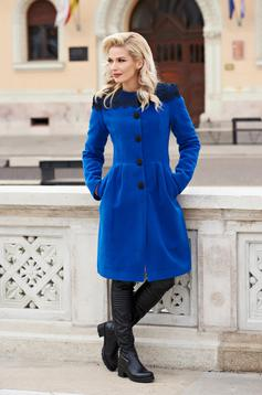 Blue elegant wool coat with embroidery details