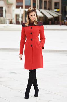 Red elegant wool coat with embroidery details
