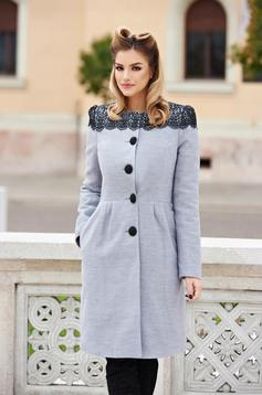 Grey elegant wool coat with embroidery details