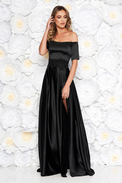 Artista occasional black dress with satin fabric texture embroidery details