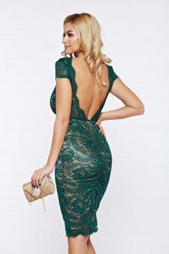 Fofy green occasional laced bareback dress