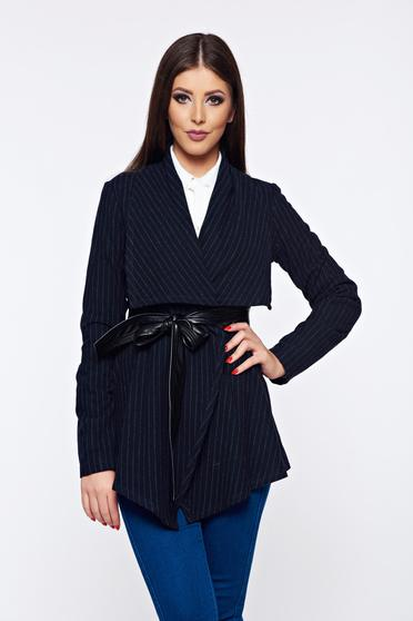 Cardigan PrettyGirl albastru-inchis cu croi larg cu dungi verticale din lana