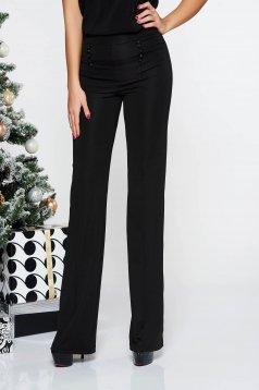 Pantaloni Fofy negri eleganti cu un croi evazat cu talie inalta din material elastic si fin accesorizati cu nasturi