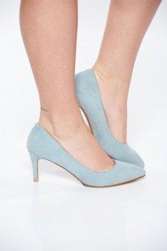 Pantofi Top Secret albastru-deschis office din piele ecologica