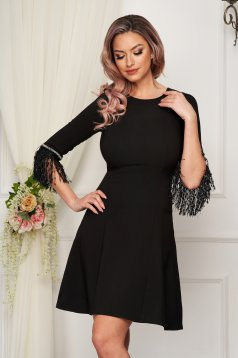 Occasional StarShinerS flared black dress with short sleeve