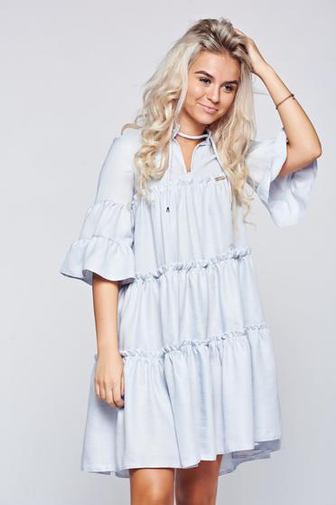 Rochie PrettyGirl albastra-deschis cu croi larg cu maneci clopot