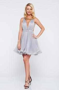 Ana Radu cloche grey luxurious dress with a cleavage from tulle with inside lining accessorized with tied waistband