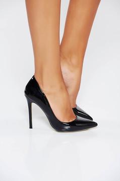 Pantofi stiletto negru elegant cu toc inalt din piele ecologica cu varful usor ascutit