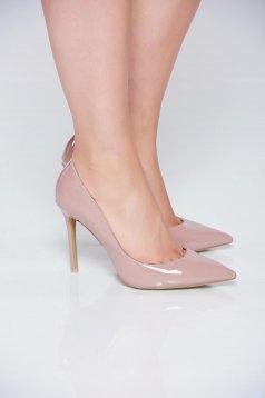 Pantofi stiletto crem elegant cu toc inalt din piele ecologica cu varful usor ascutit