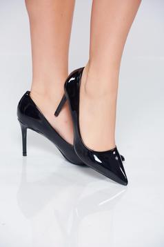 Pantofi stiletto negri elegant din piele ecologica