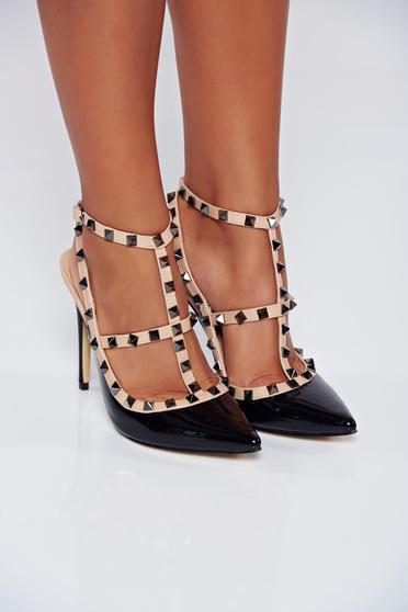 Pantofi stiletto negri cu toc inalt din piele ecologica lacuita cu tinte metalice