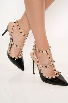 High heels black stiletto shoes with metallic spikes