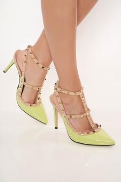 Pantofi stiletto verde-deschis eleganti din piele ecologica lacuita cu toc inalt si tinte metalice