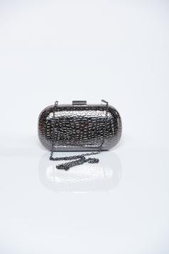 Geanta dama cu aspect metalic gri-inchis cu model in relief