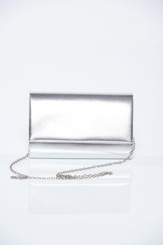 Geanta dama de ocazie argintie cu aspect metalic