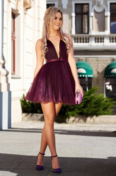Ana Radu occasional purple cloche net dress cut back