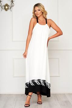 StarShinerS white dress bareback flared with straps