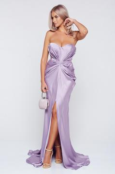 Ana Radu luxurious off shoulder dress from satin fabric texture with push-up bra accessorized with tied waistband lila