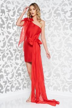 Ana Radu red sleeveless short cut occasional dress slightly elastic fabric