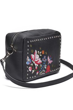 Top Secret casual embroidered black bag with metallic spikes