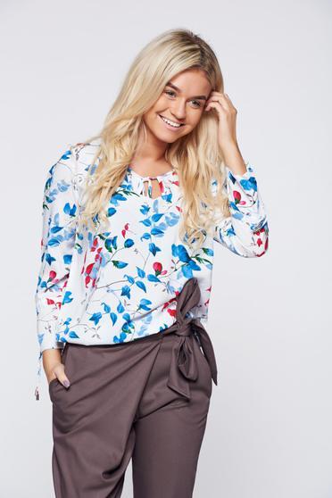 Bluza dama Top Secret alba office din material vaporos cu imprimeu floral