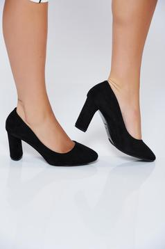Black office with high heels shoes from ecological leather