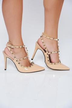 Pantofi stiletto crem eleganti cu barete subtiri din piele ecologica lacuita