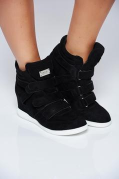 Pantofi sport negru casual din piele ecologica