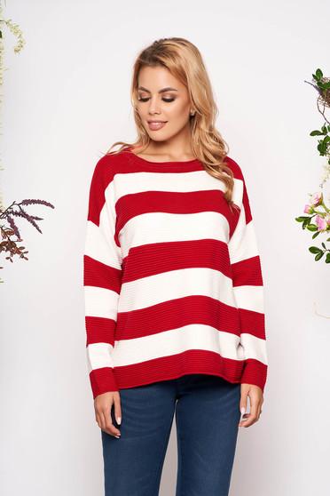 Pulover SunShine rosu casual scurt tricotat cu croi larg cu maneci lungi si dungi