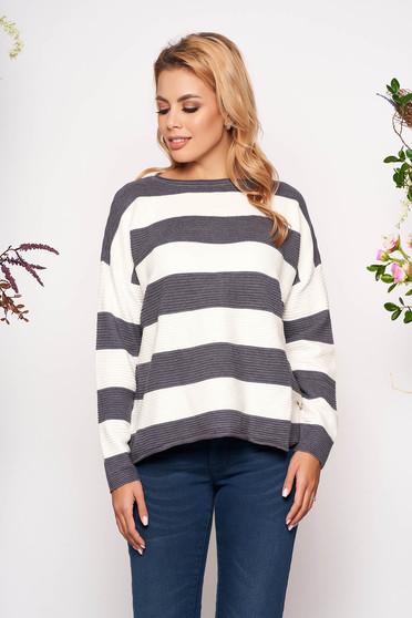 Pulover SunShine gri casual scurt tricotat cu croi larg cu maneci lungi si dungi