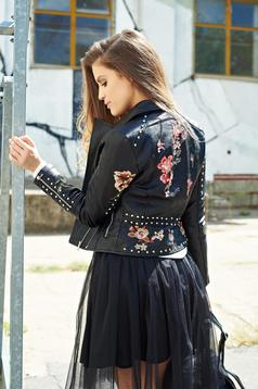 Black casual embroidered jacket with aims
