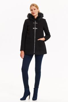 Palton Top Secret negru scurt casual cu croi larg cu buzunare cu gluga imblanita si inchidere cu fermoar