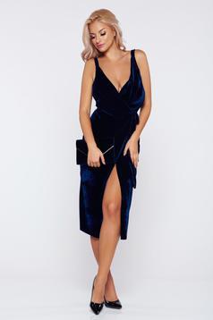 Rochie albastra-inchis de ocazie petrecuta din catifea