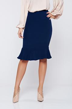 StarShinerS darkblue office pencil skirt with ruffle details