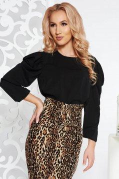 Bluza dama StarShinerS neagra eleganta din voal cu maneci bufante
